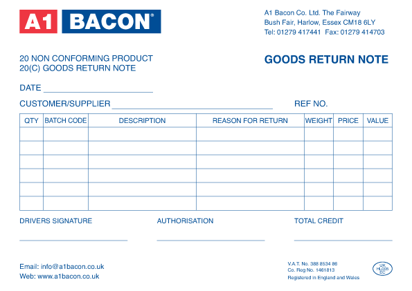 Return goods form template